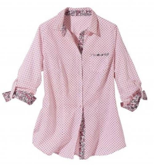 Růžová dámská košile s puntíky