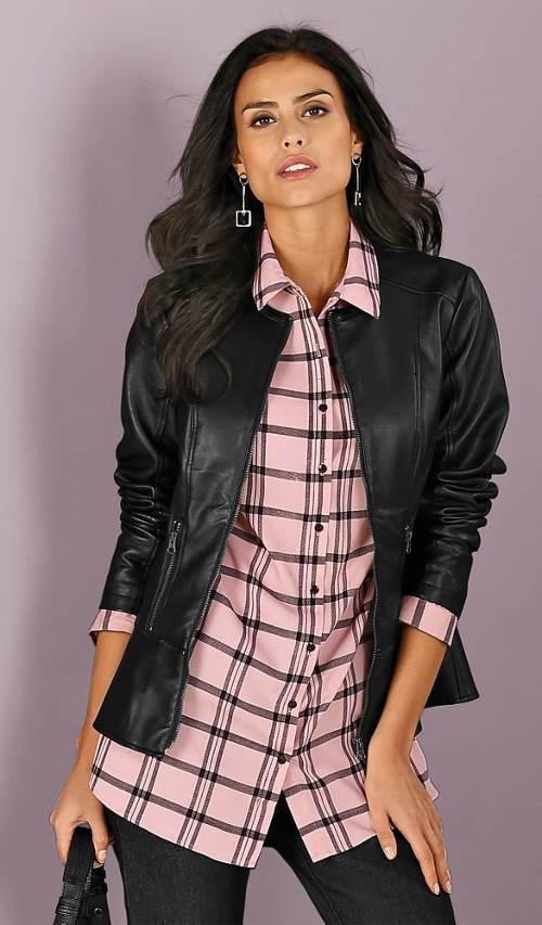 Růžová kostkovaná dámská košile
