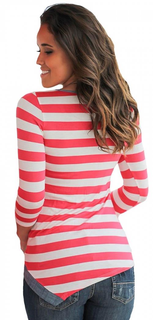 Růžovo-bílé pruhované dámské tričko