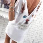 Tričkové mini šaty s motivem kočičky
