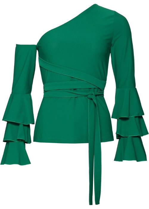 Zelená dámská halenka na jedno rameno