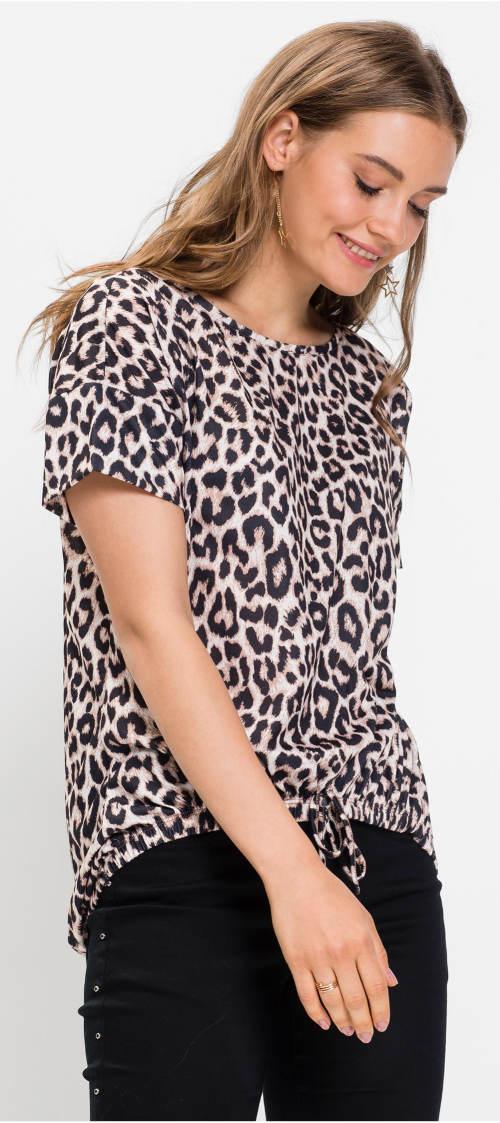 Leopardí tričko se zavazovacím lemem