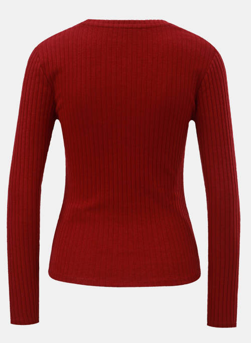 Teplé červené dámské zimní tričko