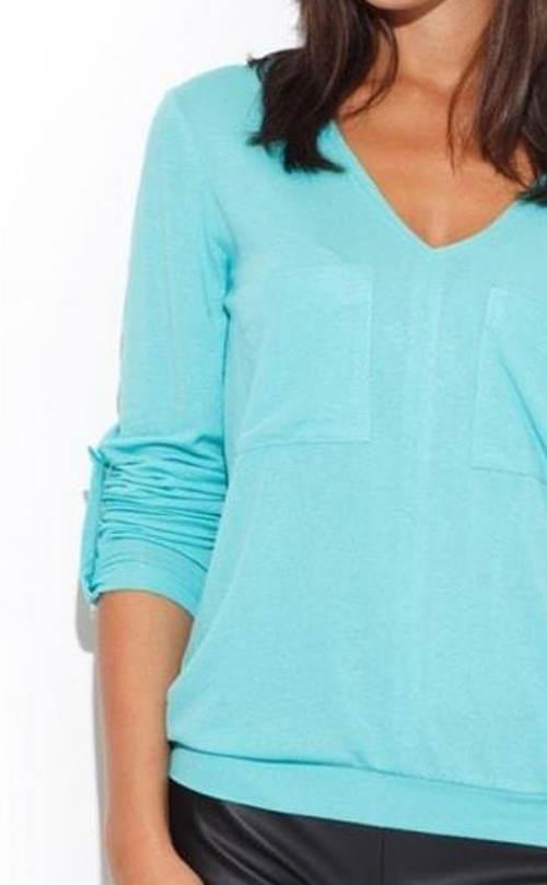 Tyrkysové dámské tričko s dlouhým rukávem