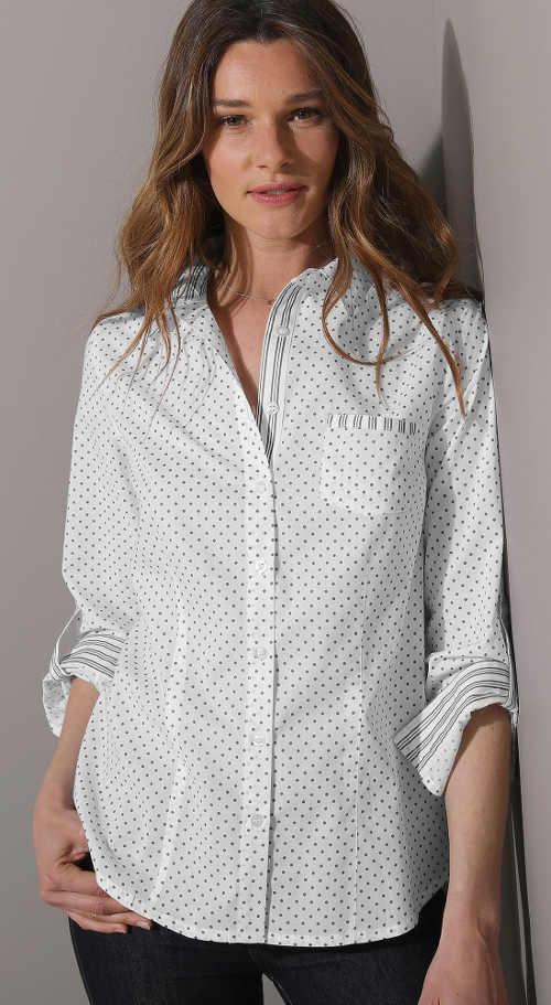 Dámská bílá košile s drobným puntíkem