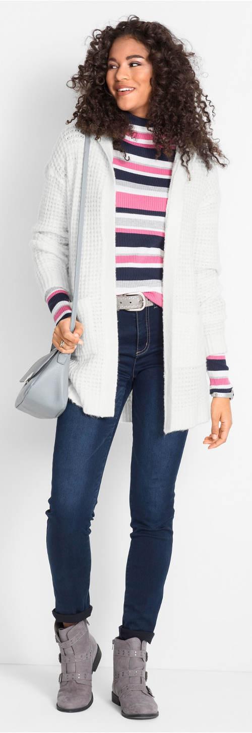 Bílý dámský svetr bez zapínání