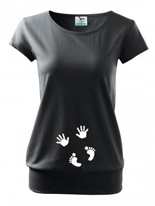 Černé těhotenské tričko ručičky a nožičky