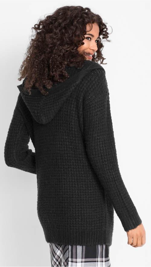Černý pletený svetr s kapucí