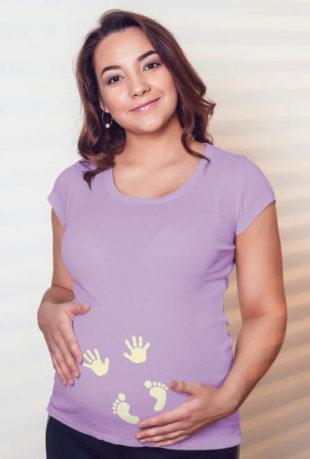 Dámské těhotenské tričko s otisky