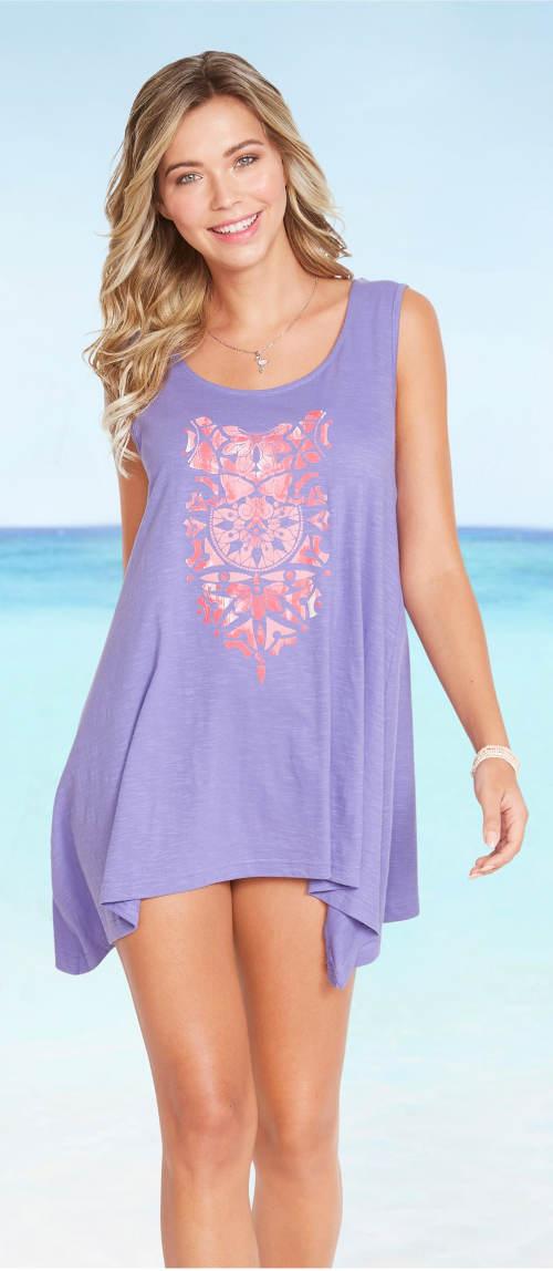 Fialový dámský plážový top