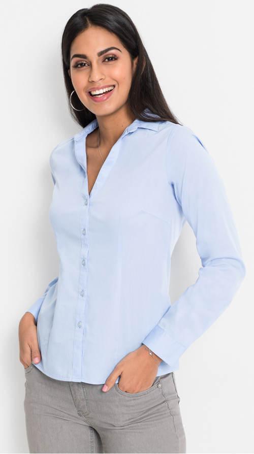 Jednobarevná světle modrá dámská halenka s límečkem