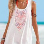 Lehounký plážový top s háčkovanou krajkou na zádech