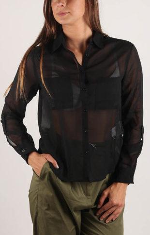 Levná černá průsvitná dámská košile