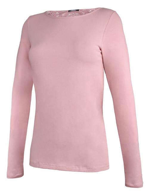 Růžové dámské tričko s dlouhými rukávy