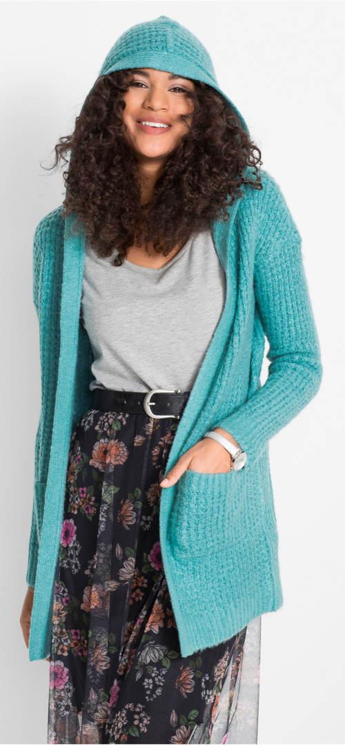 Tyrkysový svetrový kabátek s kapucí