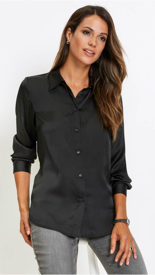 Černá saténová dámská košile