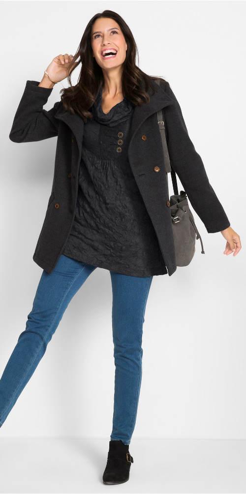 Černá zimní mačkaná halenka