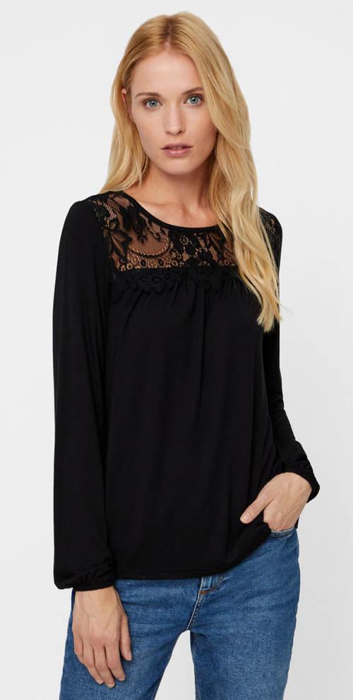 Černé tričko s krajkovým sedlem VERO MODA