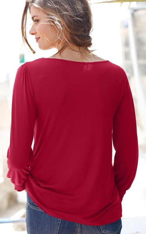 Červená dámská halenka s dlouhým rukávem v akci