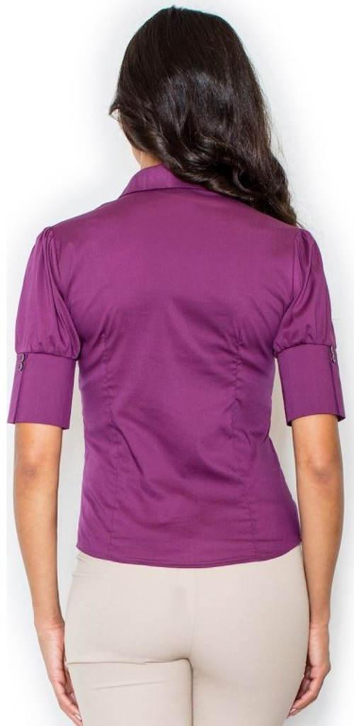 Fialová dámská košile s krátkým rukávem