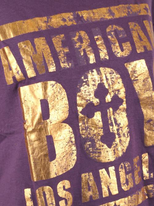 Fialové dámské tričko se zlatými nápisy