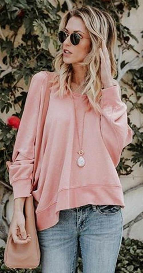 Růžový mikinový dámský top