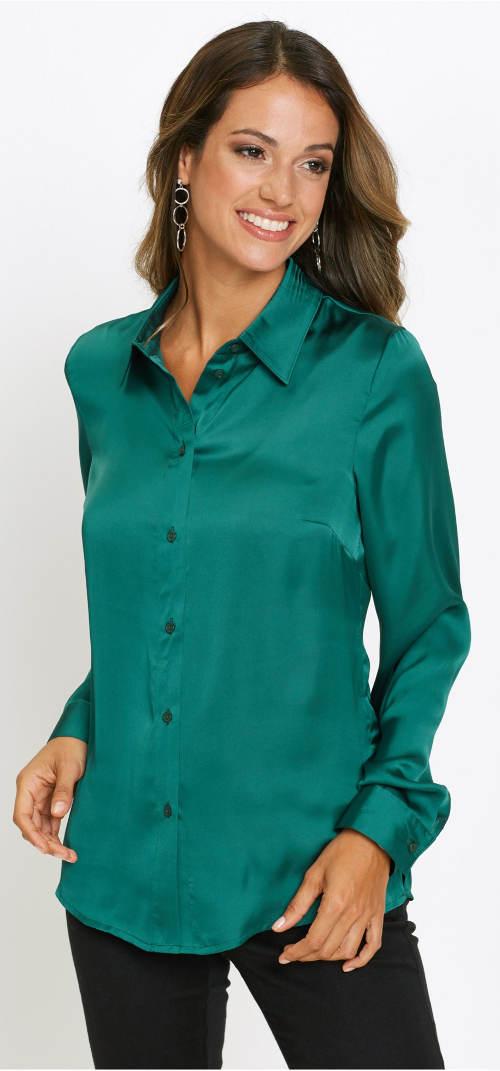 Smaragdově zelená lesklá košile