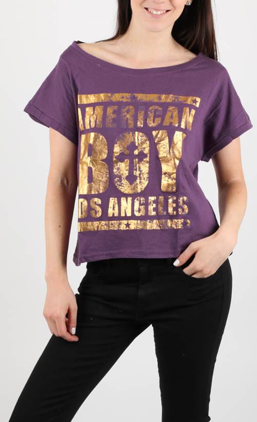Volné fialové dámské letní tričko Alcott