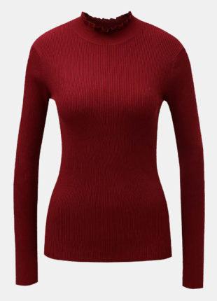 Žebrované svetrové tričko s drobným stojáčkem
