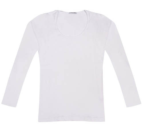 Jednobarevné dámské bílé tričko s dlouhými rukávy