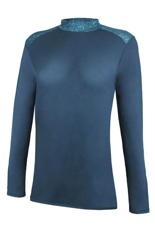 Modré krajkové tričko se stojáčkem