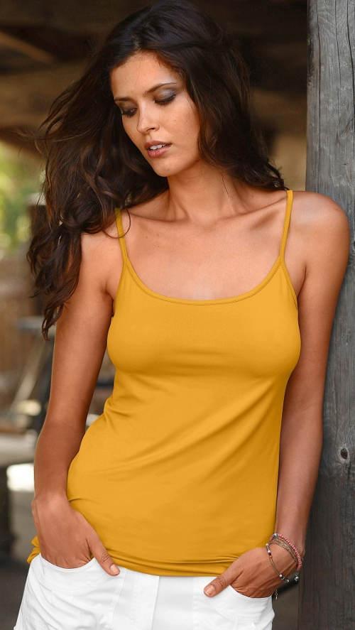 Bavlněné žluté dámské tílko