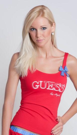 Červený dámský nátělník Guess