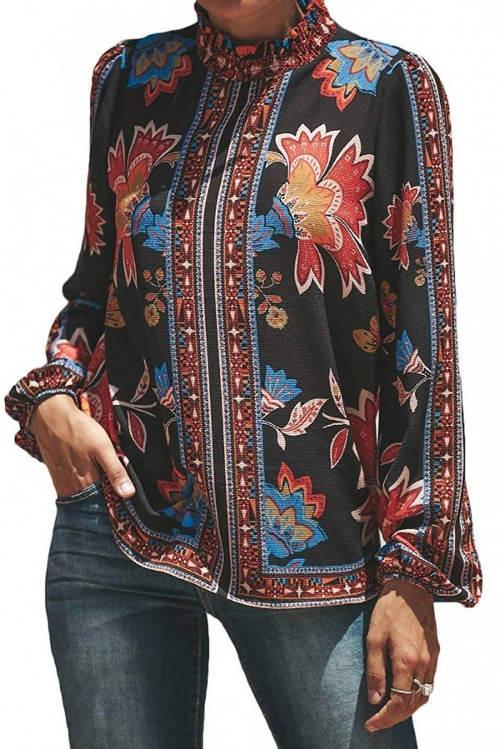 Dámská tuniková košile s květinovým potiskem