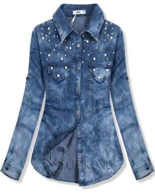 Džínová košile s perličkami pro plnoštíhlé