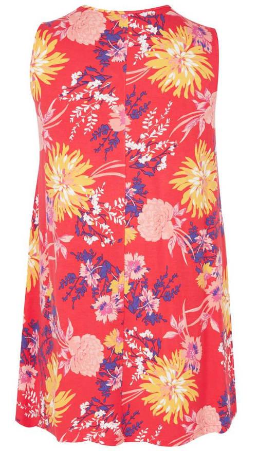 Korálový prodloužený dámský top s květy