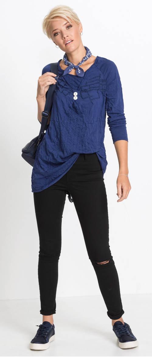 Modrá mačkaná dámská tunika