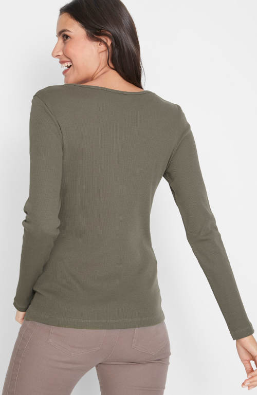 Olivové dámské zimní tričko