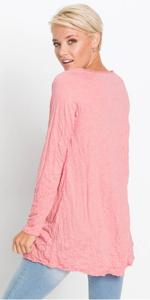 Růžová mačkaná dámská tunika