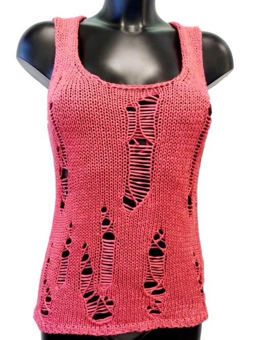 Růžové pletené dámské tílko