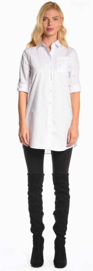 Zářivě bílá dámská košile s dlouhým rukávem