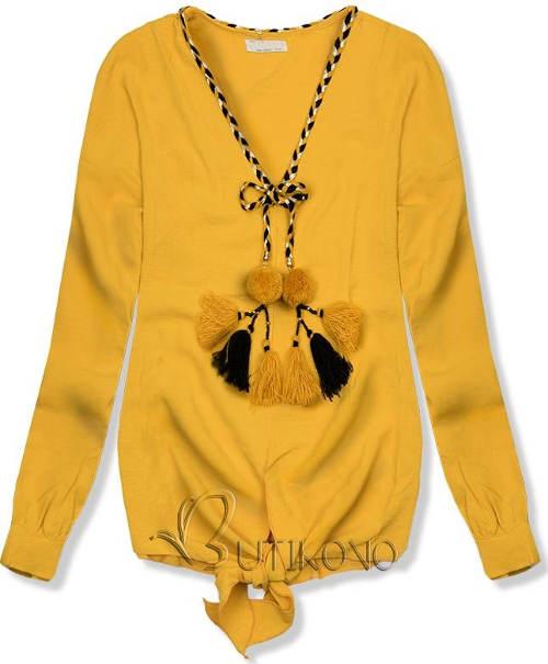Žlutá dámská halenka s výraznými střapci