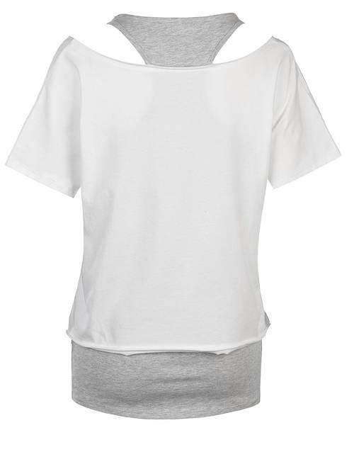 Bílé dámské tričko s šedým tílkem