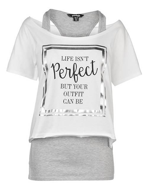Bílo-šedé dámské tričko 2v1 s nápisem
