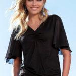 Černé letní dámské tričko s volánovými rukávy