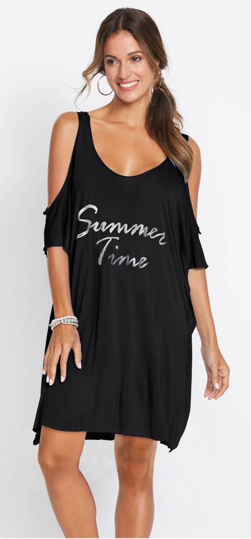 Lehounké černé šaty přes plavky
