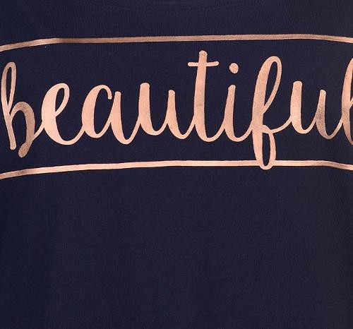 Modré dámské tričko Beautiful