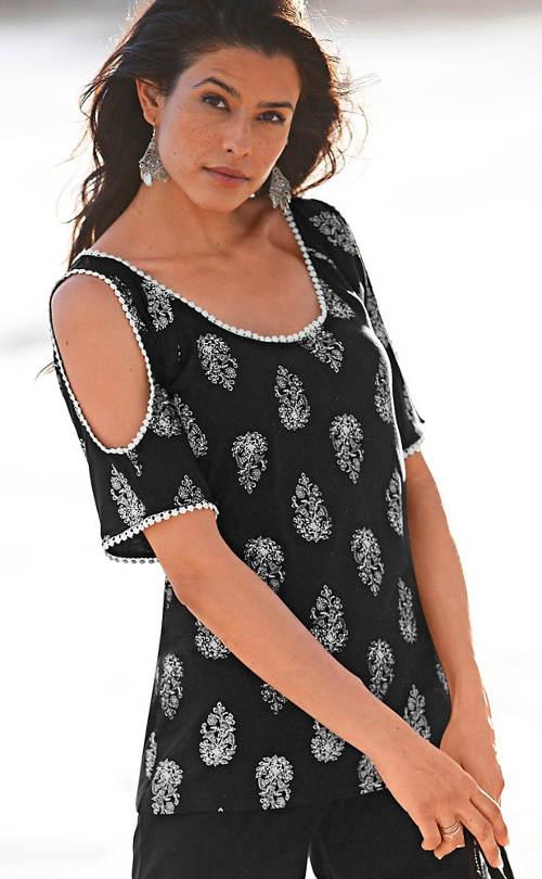 Prodloužené dámské tričko s průstřihy na zádech