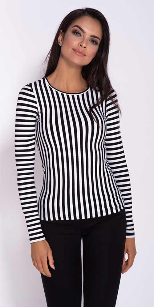 Pruhované černobílé dámské tričko s dlouhým rukávem