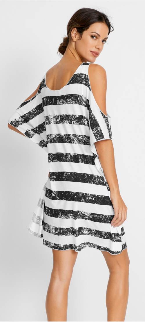 Pruhované černobílé plážové tričko